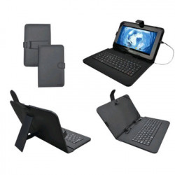 "FUNDA TABLET 10"" SUNSTECH KEY10BK SOPORTE+TECL NEG"